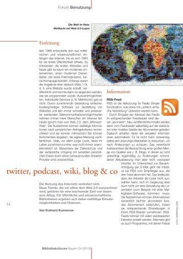 twitter, podcast, wiki, blog & co - Landesfachstelle für das öffentliche ...