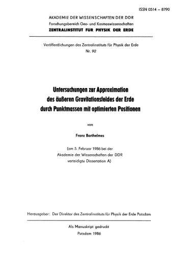 ZENTRAI.INSTITUT FÜR PHYSIK DER ERDE