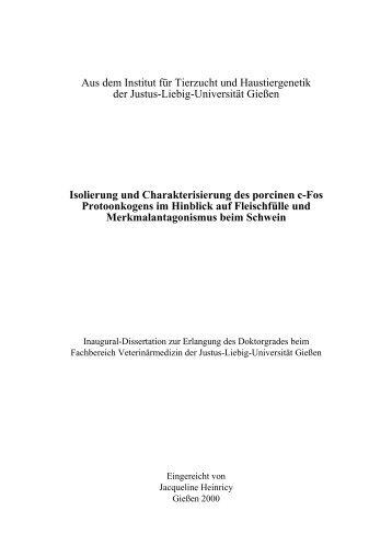 Isolierung und Charakterisierung des porcinen c-Fos ...