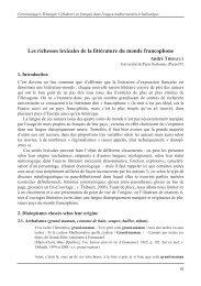 Les richesses lexicales de la littérature du monde ... - André Thibault