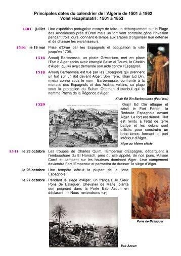 Principales dates du calendrier de l'Algérie de 1501 à 1962 Volet ...