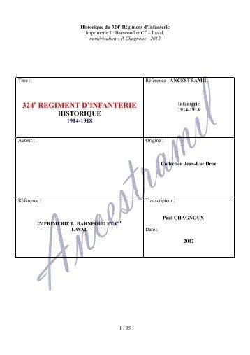 324 REGIMENT D'INFANTERIE - Ancestramil