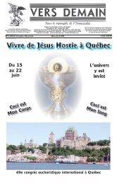 Vivre de Jésus Hostie à Québec - Vers Demain