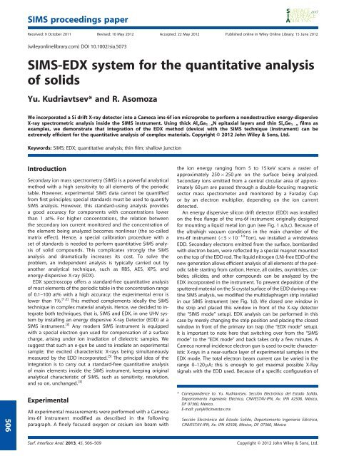 SIMSEDX system for the quantitative analysis of solids