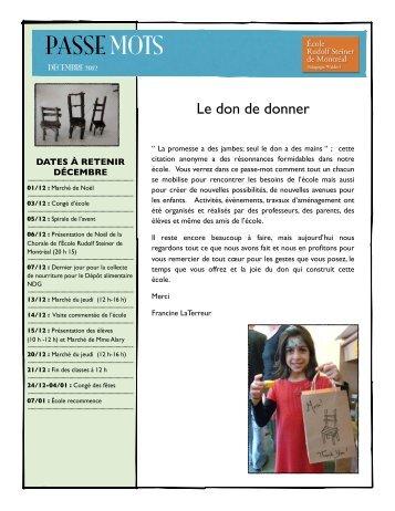 Passe Mots Décembre - École Rudolf Steiner de Montréal