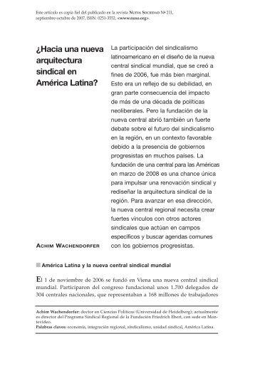 ¿Hacia una nueva arquitectura sindical en América Latina? - eFaber