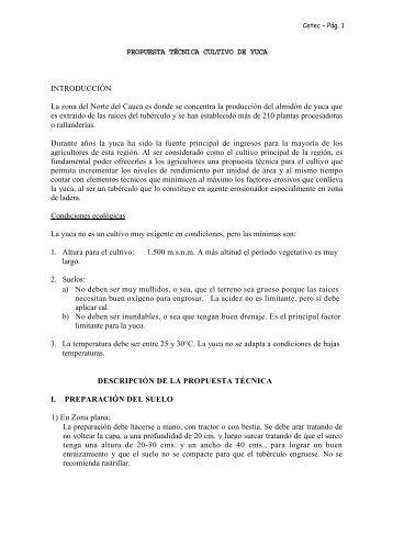 Propuesta tecnica cultivo de yuca - Agronet
