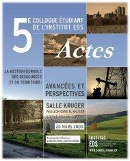 Actes du 5e colloque étudiant (PDF; 4 Mo) - Institut EDS en ...