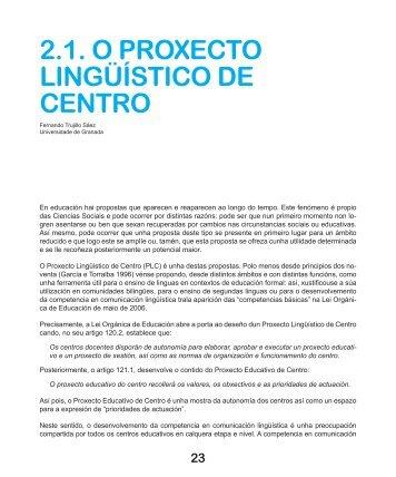 proxecto lingüístico de centro e currículo ... - Fernando Trujillo