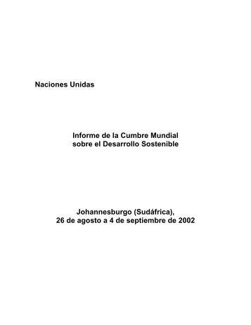 Naciones Unidas Informe de la Cumbre Mundial ... - Biblioteca Hegoa