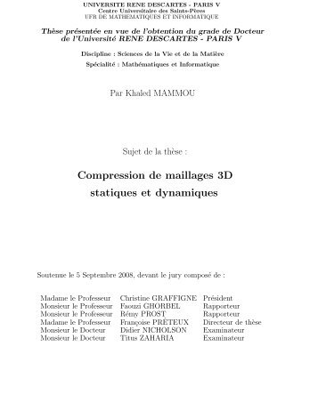Compression de maillages 3D statiques et dynamiques - Artemis