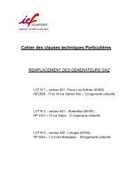 CCTP REMPLACEMENT GENERATEURS GAZ 3 LOTS - ICF Habitat