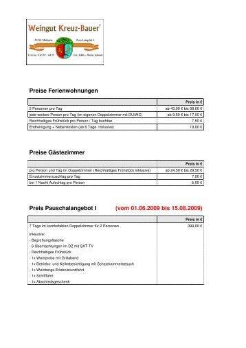 vom 01.06.2009 bis 15.08.2009 - Weingut Kreuz-Bauer GbR