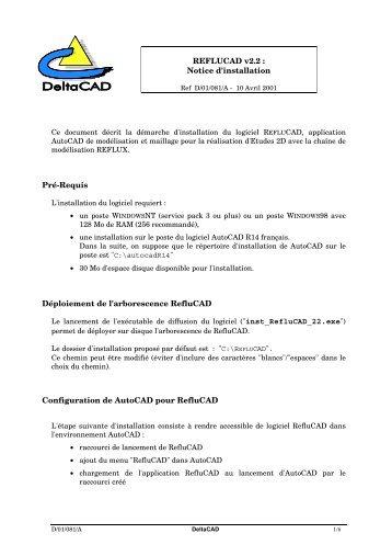 REFLUCAD v2.2 : Notice d'installation Pré-Requis ... - Le CETMEF