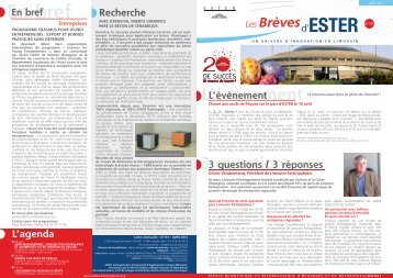Brèves d'ESTER n°101 - ESTER Technopole