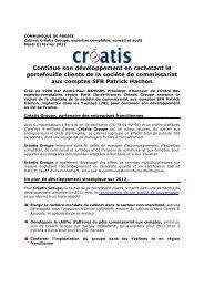 Créatis rachète le portefeuille clients de la société SFR Patrick Hachon