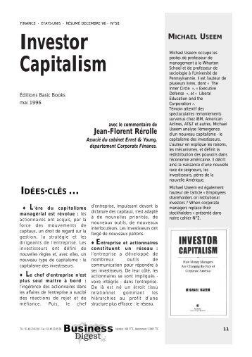 Commentaire : Investor Capitalism - le blog de Jean-Florent Rérolle