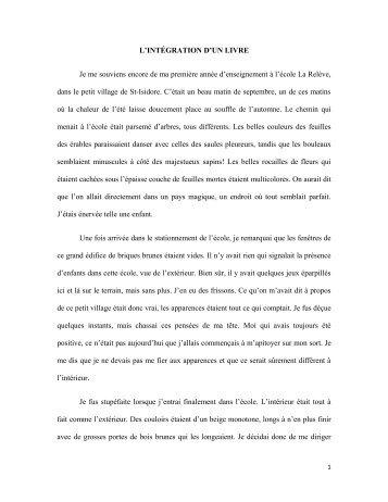 L'intégration d'un livre (Hélène Savoie) - Université de Moncton