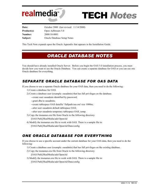 ORACLE DATABASE NOTES - 24/7 Real Media