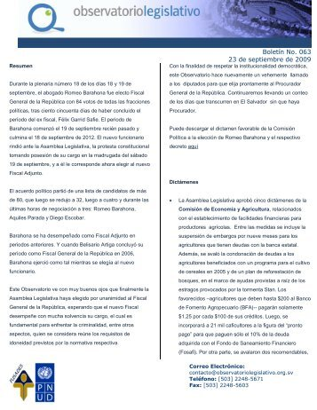 Boletín No. 063 23 de septiembre de 2009