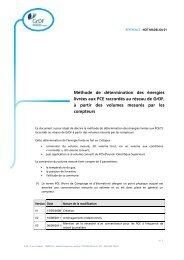 Méthode de détermination des énergies livrées aux PCE raccordés ...