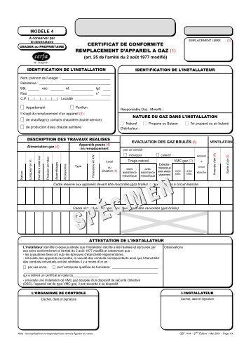 Certificat de conformit mod le 4 cegibat - Certificat de conformite gaz ...