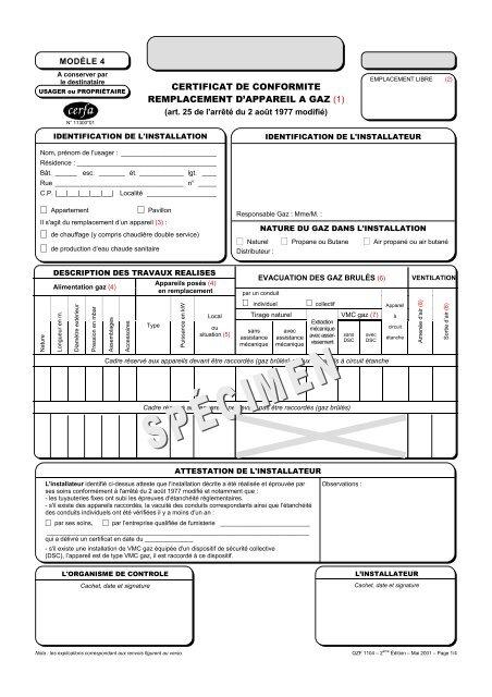 Certificat De Conformite Modele 4 Cegibat