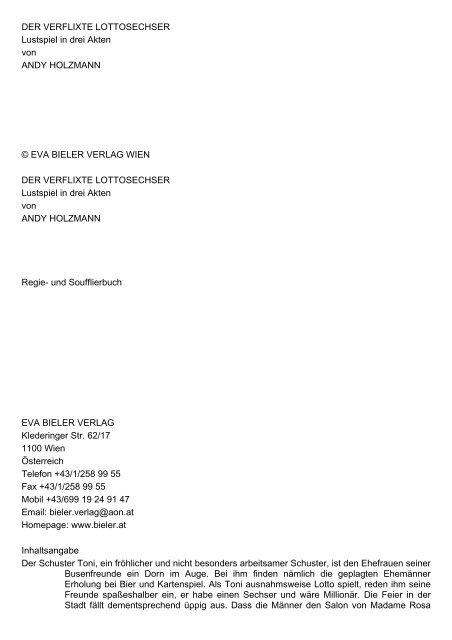 DER VERFLIXTE LOTTOSECHSER Lustspiel in drei Akten von ...