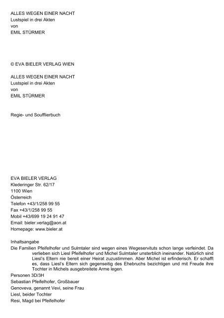 ALLES WEGEN EINER NACHT Lustspiel in drei Akten von EMIL ...
