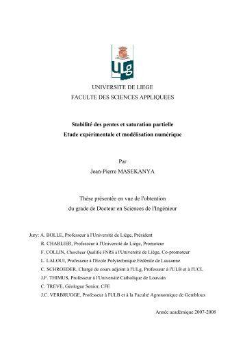 UNIVERSITE DE LIEGE FACULTE DES SCIENCES APPLIQUEES ...