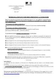 homologation d'un divorce prononce a l'etranger - France, consulat ...