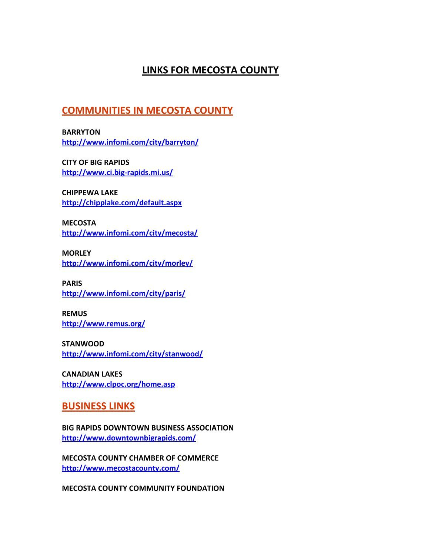 Michigan mecosta county barryton - Bigrapids Org