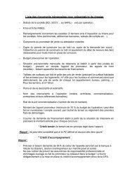 Liste des documents nécessaires pour présentation de dossier