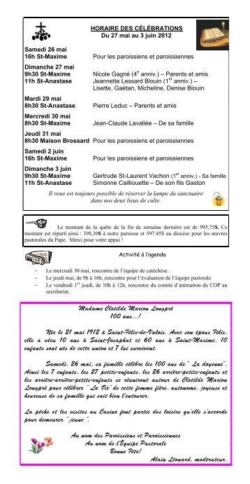 27 mai au 3 juin 2012 - Paroisse La Bienheureuse-Marie-Rose ...