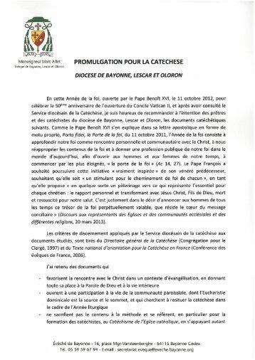 Promulgation du projet de Catéchèse 2013 - Diocèse de Bayonne ...