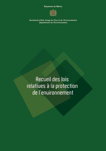 Recueil des lois relatives à la protection de l'environnement