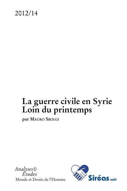 A-2012/N°14 La guerre civile en Syrie Loin du printemps - Siréas asbl
