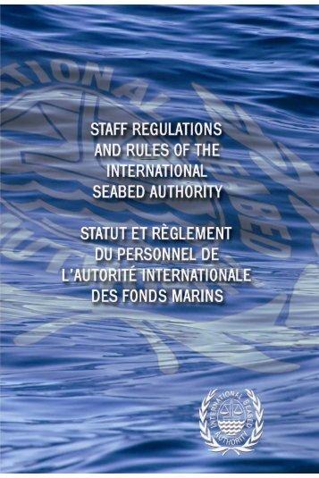 Statut et règlement du personnel de l'Autorité - International Seabed