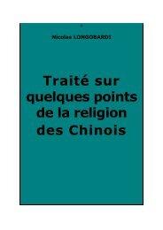 Traité sur quelques points de la religion des Chinois - Chine ancienne