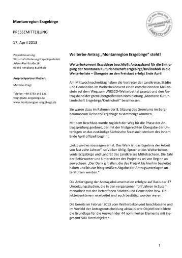 """""""Montanregion Erzgebirge"""" steht! - Wirtschaftsförderung Erzgebirge ..."""