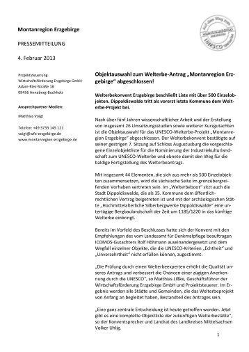 """Objektauswahl zum Welterbe-Antrag """"Montanregion Erzgebirge"""""""
