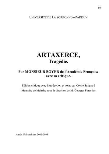 ARTAXERCE, - CRHT