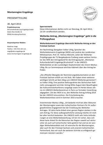 Montanregion Erzgebirge - Wirtschaftsförderung Erzgebirge GmbH