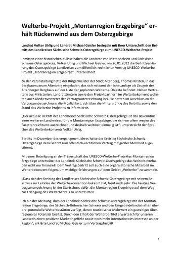 """Welterbe-Projekt """"Montanregion Erzgebirge"""" er- hält Rückenwind ..."""