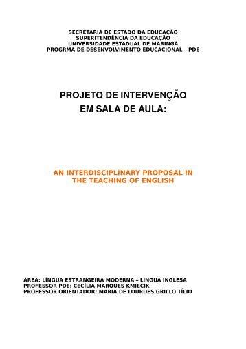 projeto de intervenção em sala de aula: an interdisciplinary ...