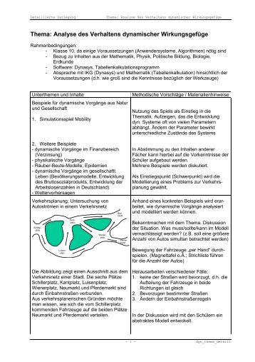 Thema: Analyse des Verhaltens dynamischer Wirkungsgefüge