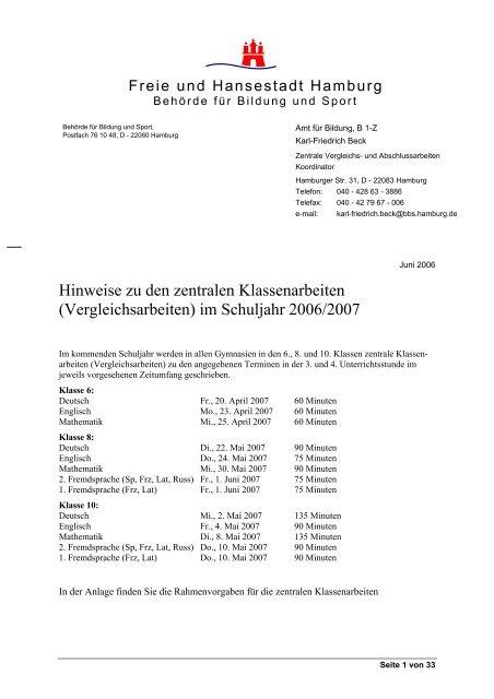 Prüfungsregelungen Gymnasium Klasse 8 Und 10 Hamburger