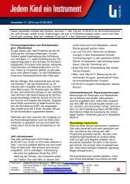 Newsletter 11/2012 Infos aus Koordinatorinnen-Workshop 7. JeKi-Tag