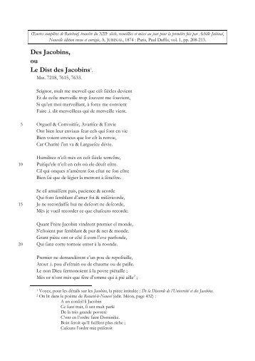 Le Dist des Jacobins Des Jacobins, ou - Rutebeuf.be