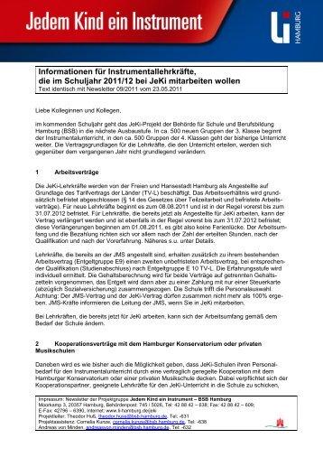 Informationen für Instrumentallehrkräfte, die im Schuljahr 2011/12